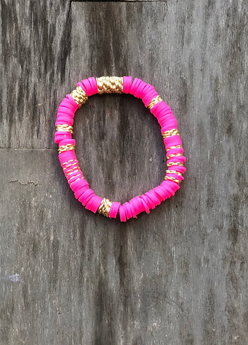 Hot pink floral bracelet