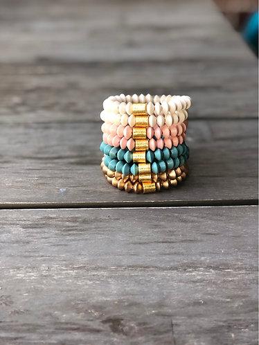 Wooden bicone bead bracelets