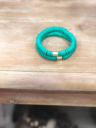 kelly green stackable bracelets