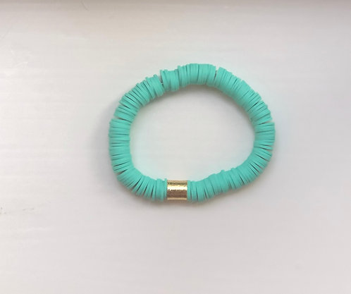 Teal stackable bracelets