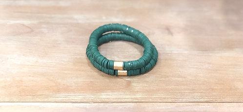 Hunter green clay bracelet