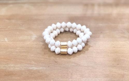 White bicone bracelet