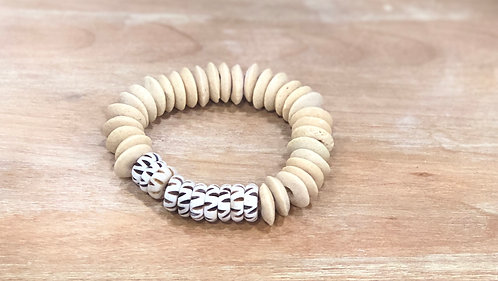 Khaki and bone bracelet