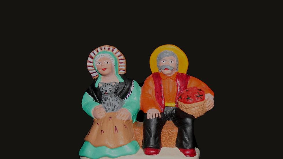 Couple de vieux sur banc