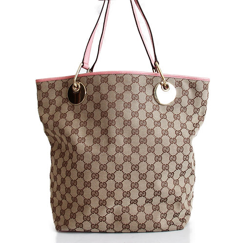 Gucci Eclipse Tote in GG Canvas and Pink Leather Trimming