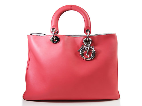 CHRISTIAN DIOR Diorssimo Large Tote in Pink Calfskin and Silver hardware