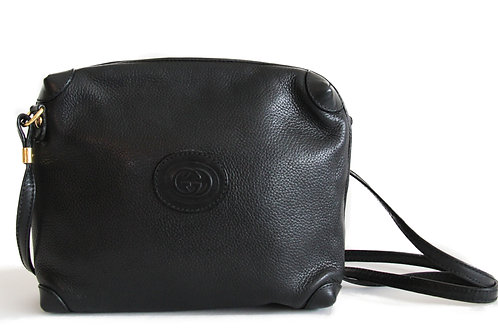 Gucci Vintage Crossbody Bag in Black Leather