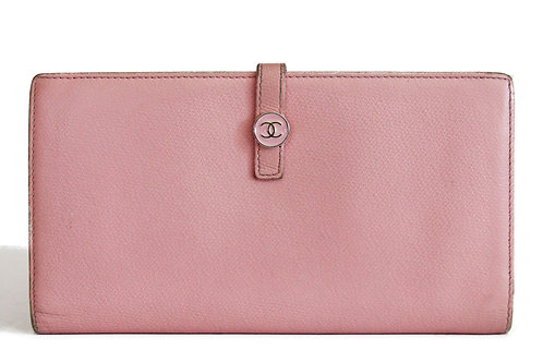 Chanel Long Wallet in Pink Caviar Skin Leather