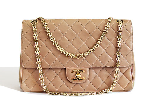 Chanel Vintage Medium Double Flap Shoulder Bag in Beige Lambskin