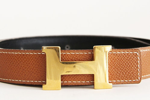 Hermes Reversible H Belt 60 in Black Boxcalf and Brown Epsom Leather