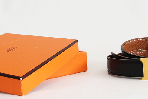 Hermes Reversible H Belt 75 in Black Boxcalf and Brown Epsom Leather