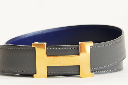 Hermes H Belt in Gray and Blue Leather