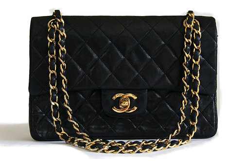 Chanel Small Double Flap Shoulder Bag in Black Lambskin