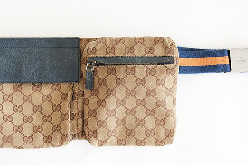 Gucci Waist Bag in GG Canvas and Blue and Orange Web