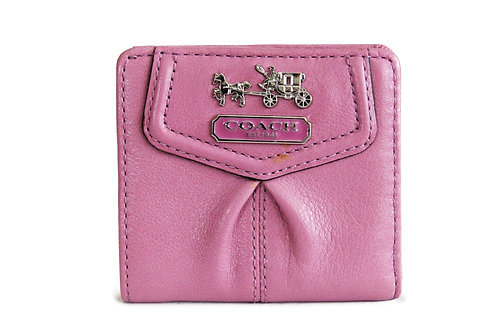 Coach Compact Wallet in Mauve Leather