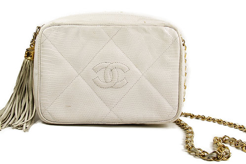 Chanel Vintage Camera Tassel Bag in White Lizard Leather