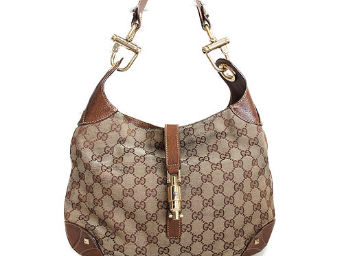Gucci Jackie Shoulder Bag in GG Canvas and Brown Leather