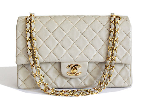 Chanel Medium Double Flap Shoulder Bag in Ivory Lambskin