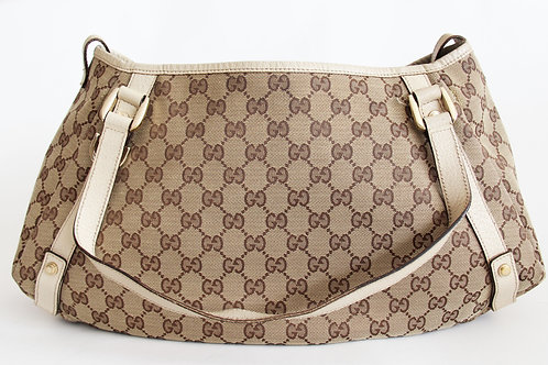 Gucci Abbey Tote in GG Canvas and White Leather Trimming