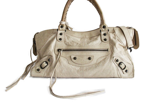 Balenciaga Part Time Tote in Ivory Leather
