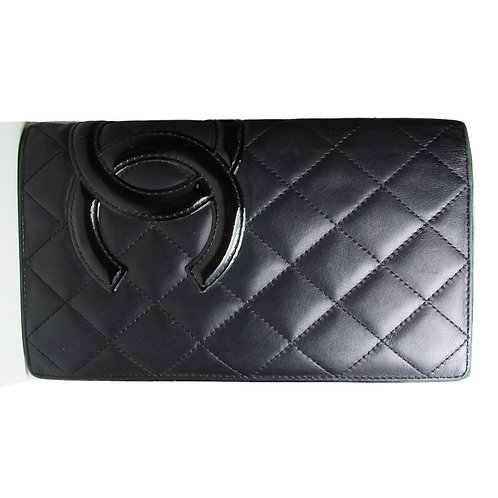 Chanel Ligne Cambon Flap Wallet in Black and Pink Interior