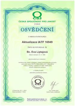 ČSJ osvědčení 2018 IATF 16949