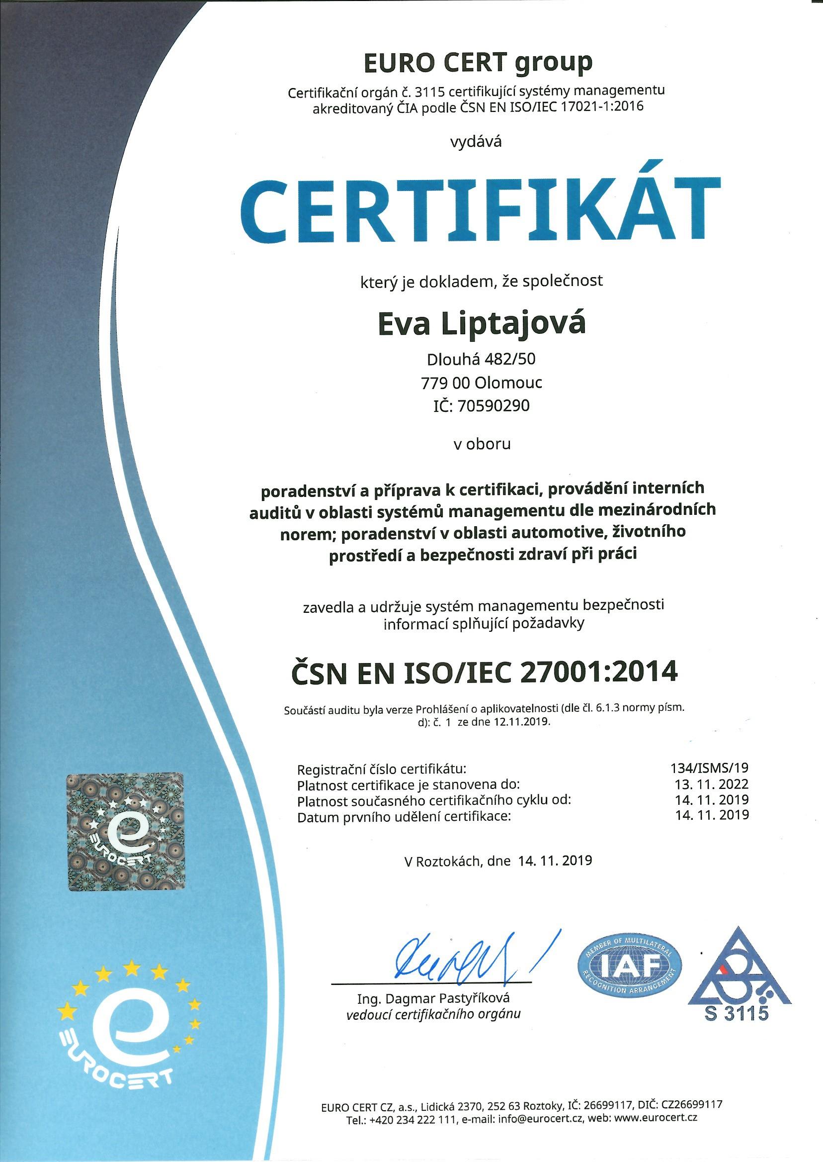 E.Liptajová ČJ ISO 27001