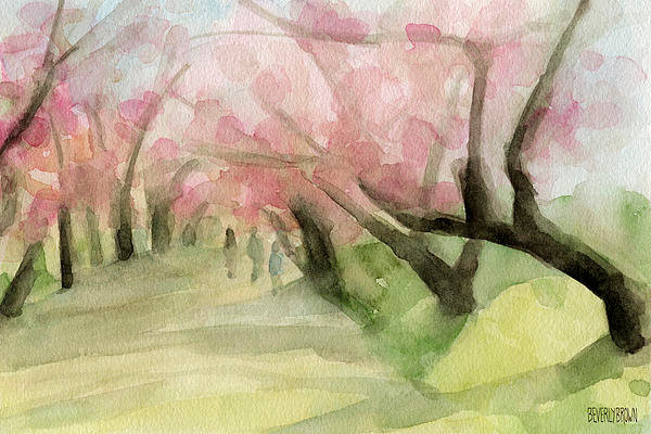 watercolor-painting-of-cherry-blossom-trees-in-central-park-nyc-beverly-brown-pr