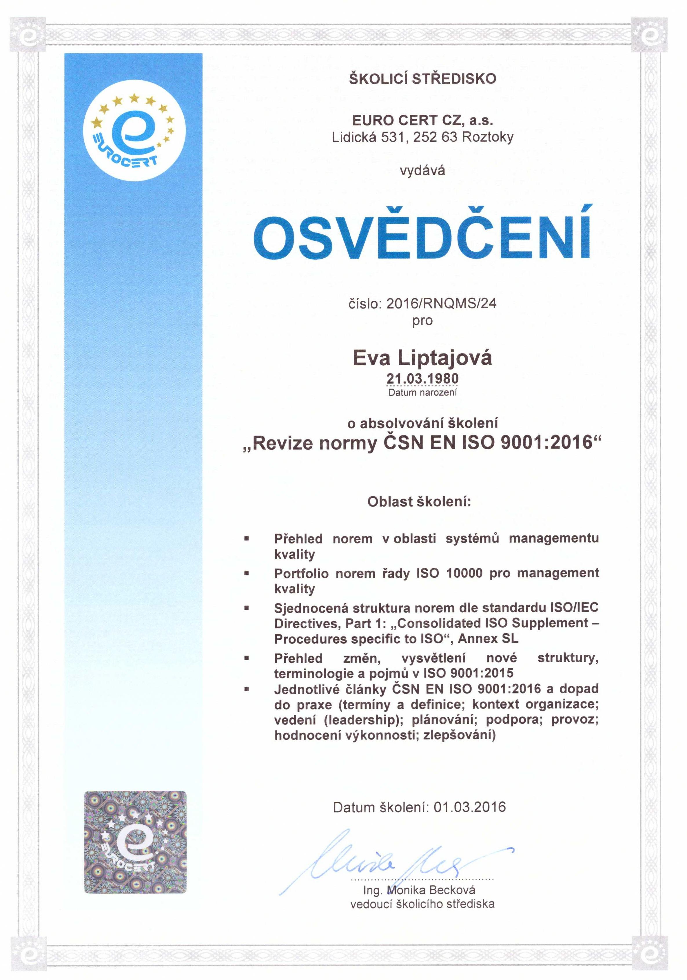osvědčení ISO 9001_2015