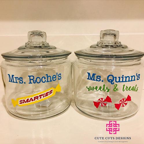 Teacher Classroom Glass Cookie / Treat Jar