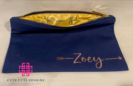 Navy Makeup bag rose gold w: message ins