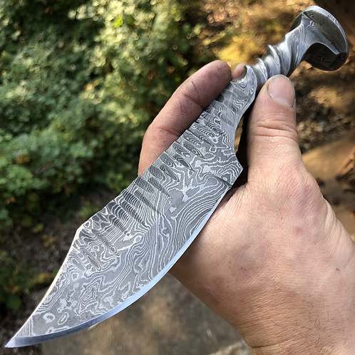 Damascus Fossil Clip Point