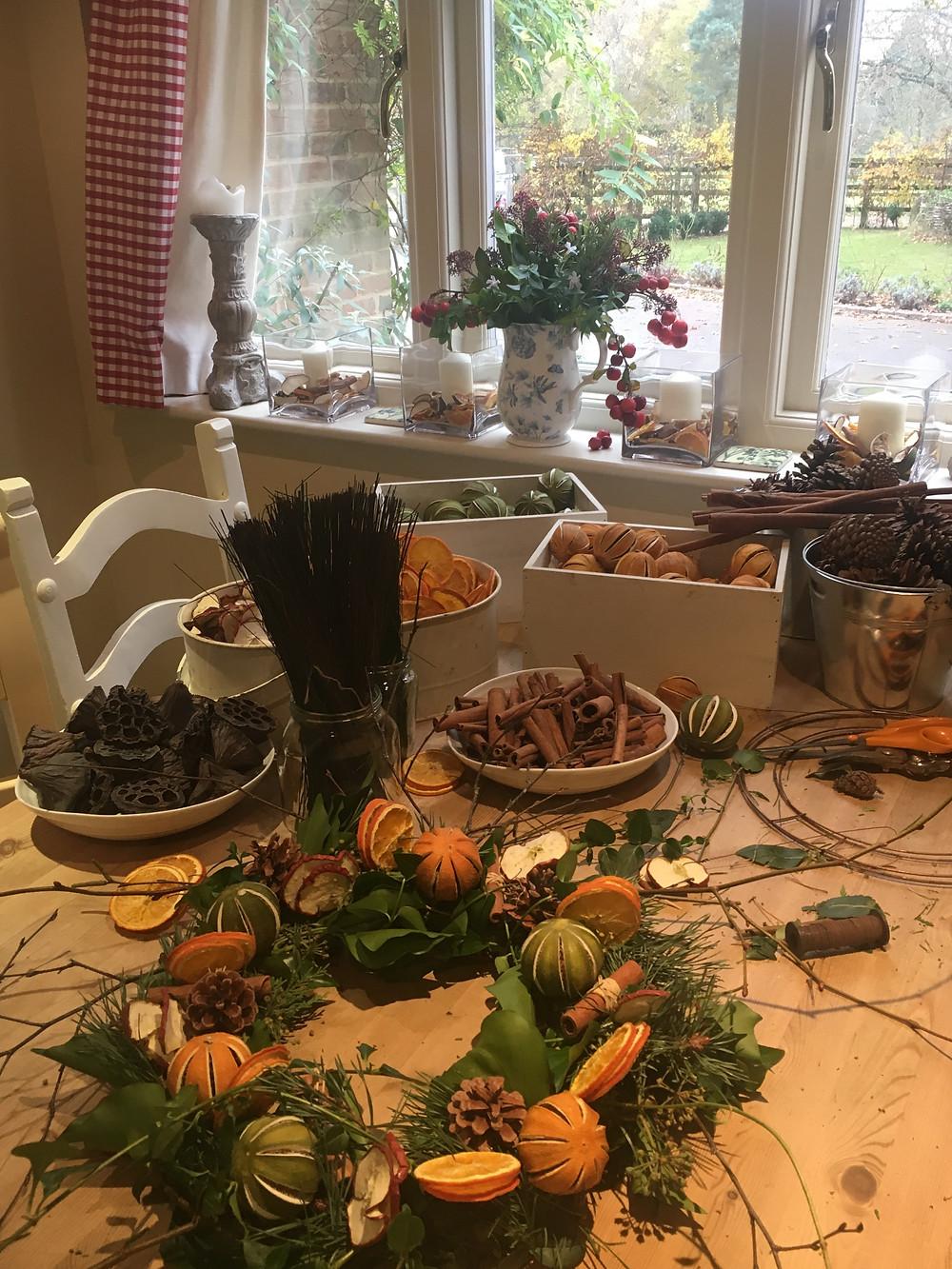 Christmas wreath making workshops in Churt, Farnham