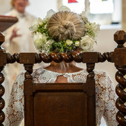 A flower crown for the bride at this Surrey wedding