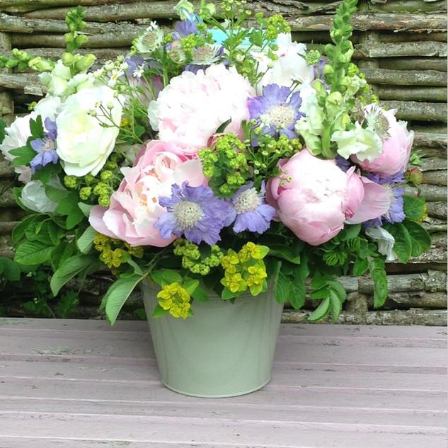 Summer bucket, peonies, astrantia, eupho