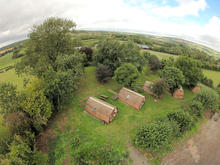 Aerial view of the glamping pods