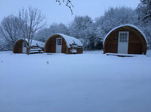 Cosy pods in the snow