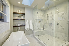 Amazing Master Bathroom With Large Glass Walk-in Shower.jpg