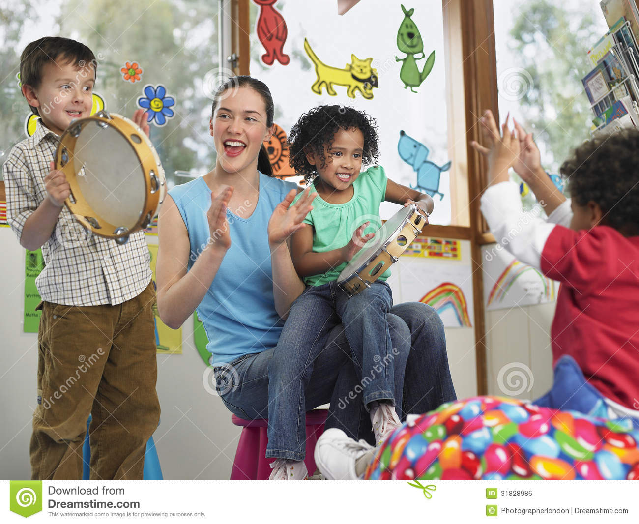 teacher-children-playing-music-class-young-classroom-31828986