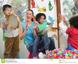 teacher-children-playing-music-class-young-classroom-31828986