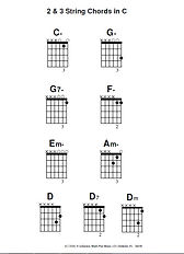 2 and 3 string Chords related to Key of