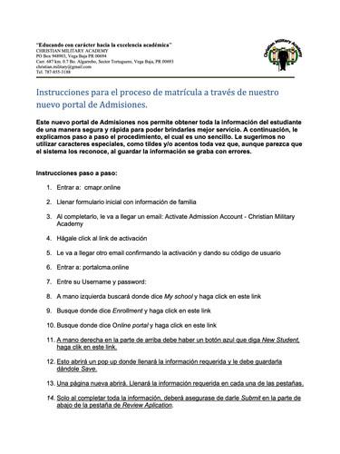Instruciones para nuevo proceso de matri