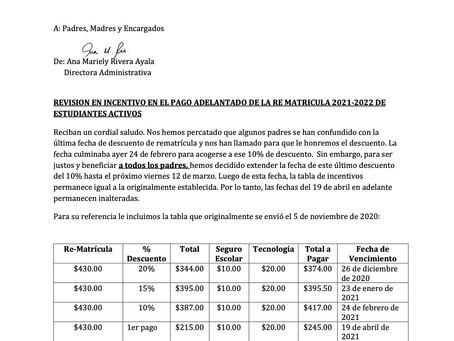 Extensión de fecha Incentivo de Re Matricula