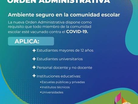 SALUD ESCOLAR   Vacunación contra el COVID-19 es requerida.