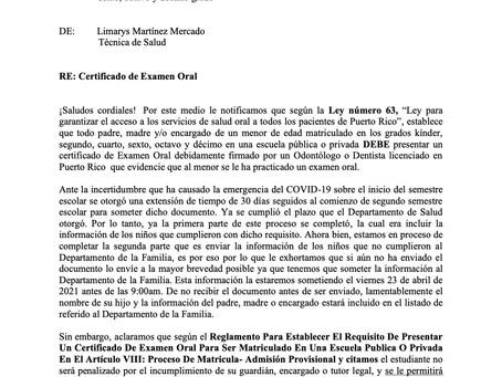 Certificado de Examen Oral