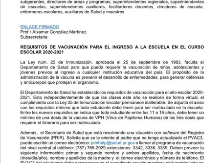 Información de Vacunación semestre 2020-2021
