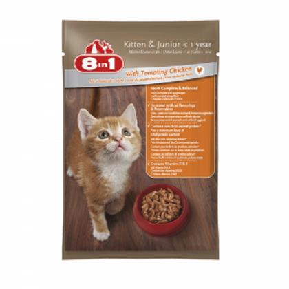 מזון רטוב (פאוץ') מלא ומאוזן לגורי חתולים וחתולים צעירים עם בשר עוף