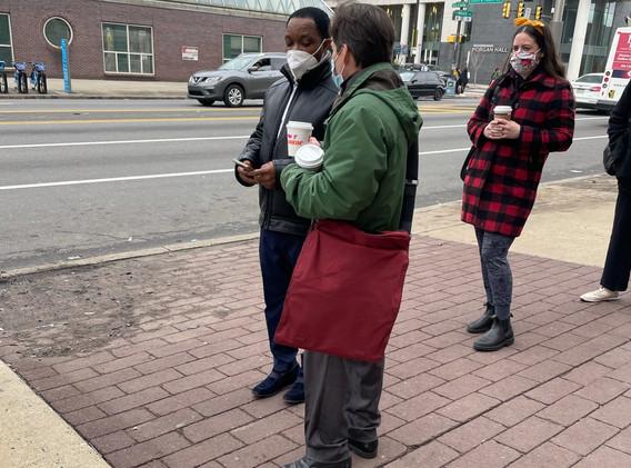 Judge John Padova hands out coffee at Bl