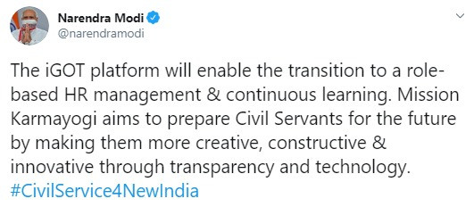 PM Narendra Modi announcing civil services reforms through a tweet on twitter