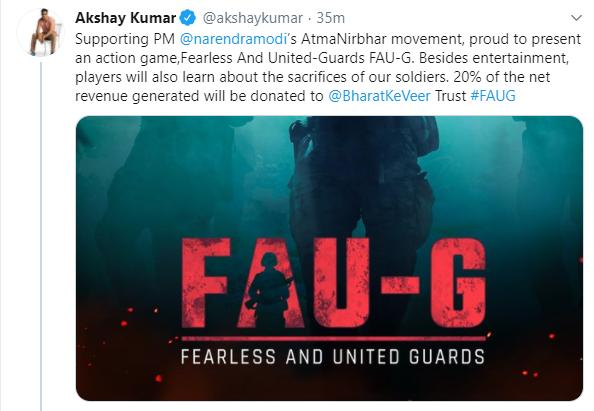 Tweet by bollywood actor Akshay Kumar to announce PUBG alternate FAU-G
